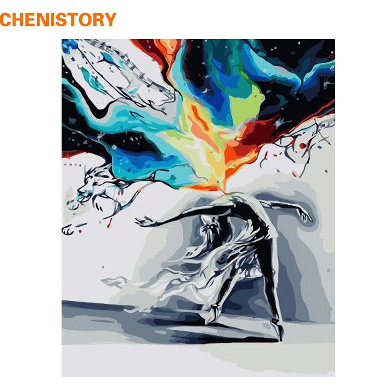 CHENISTORY Sans Cadre Abstrait Figure BRICOLAGE Peinture By Numbers Wall Art Image Peinture Calligraphie Pour La Maison Décors 40x50 cm arts