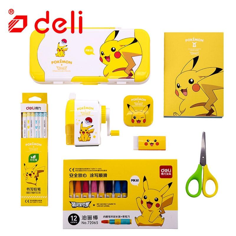 Ensemble de papeterie Deli Pokemon papeterie étudiant crayon/taille-crayon/cahier/crayon de couleur Kits d'apprentissage fournitures scolaires - 3