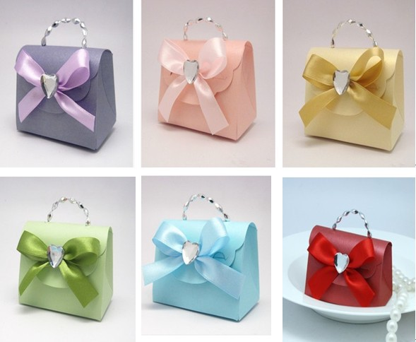 Fashion Color Wedding Candy Box With Bead Ribbon Gift Packaging Bar Supplies Bags