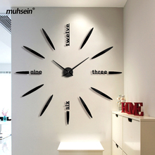130 cm Factory 2017 Wall Clock Acrylic+EVR+Metal Mirror Super Big Watches Clocks hot DIY wedding decoration Free shipping