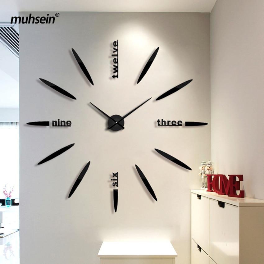 Tovární nástěnné hodiny Akryl + EVR + kovové zrcadlo Super velké hodinky Hodiny hot DIY svatební dekorace Doprava zdarma