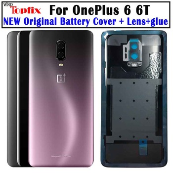 Original Glass For OnePlus 6 6T Back Battery Cover Door Rear Glass Oneplus 7 Pro Battery Cover 1+6T Housing Case + Camera Lens original new back glass oneplus 7 7t pro battery cover door one plus 7t rear housing case oneplus 7 pro battery cover panel