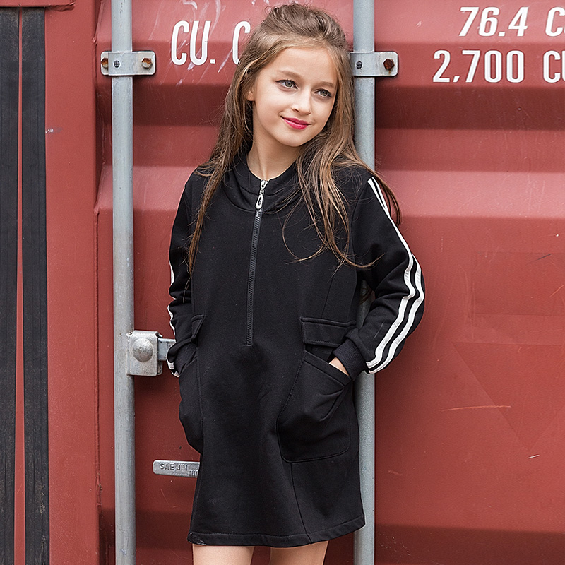Striped Designs Girl Cotton Sweatshirt Zipper Kids Black Hoodies Loose Thick Korean Tops For 6 7 8 9 10 11 12 13 14 15 16 Baby makeup clothes for teen girls baby child cotton frock designs clothing girl kids dress for age 5 6 7 8 9 10 11 12 13 14 15 years