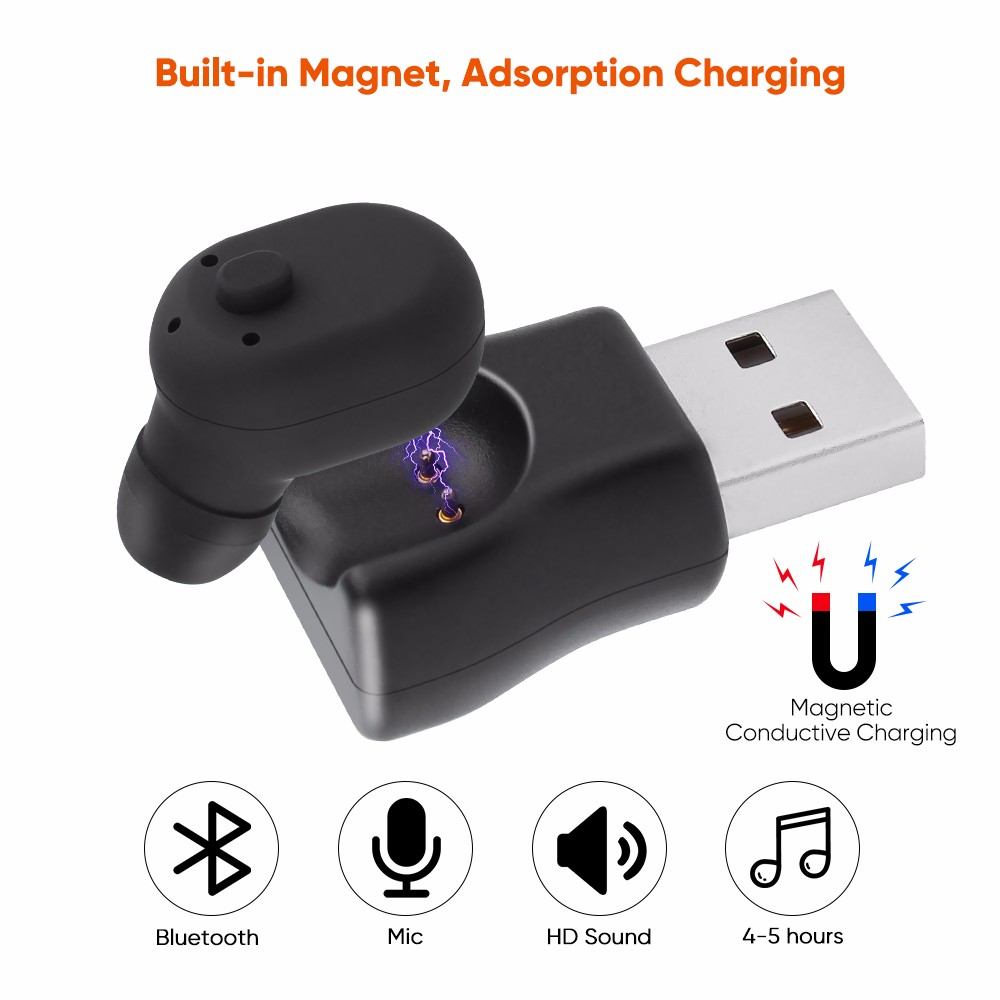 Waterproof Mini Wireless Bluetooth headset USB Magnetic charge Micro Earphone Wireless Earbud Sport headset Invisible Earplug