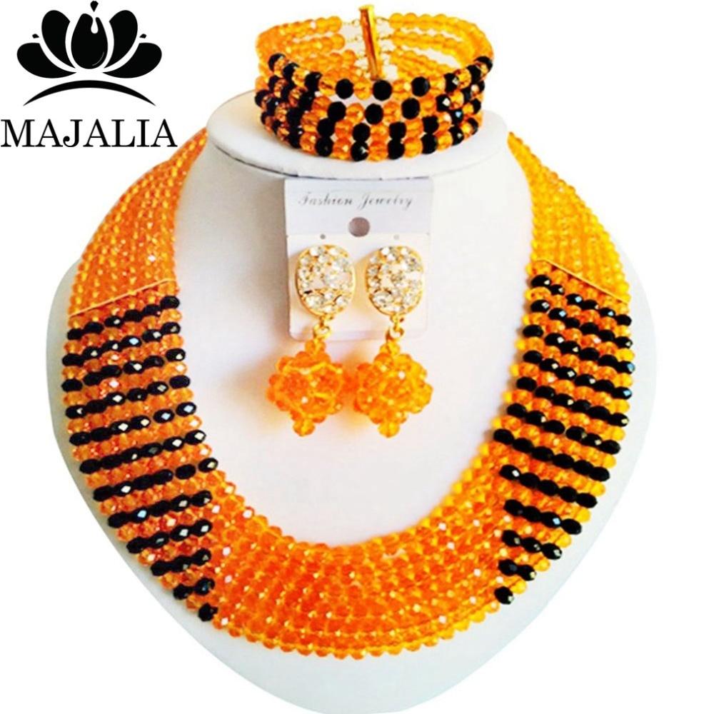 Light Orange Nigerian Wedding African Beads Jewelry Set Crystal Necklace  Bracelet Earrings Majalia A Well