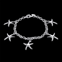 Women's Fashion Jewelry 925 Sterling Silver Charm Five Starfish Pendant Bracelets Bangle gift bag H193