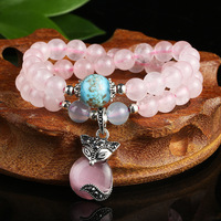 Pierre naturelle JADES bracelet avec rose lotus renard main chaîne Femelle bijoux JADES bijoux 8mm perles