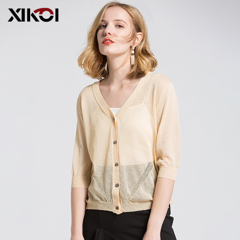 XIKOI New Summer Thin Cardigan Female Women Knitted Sweater Coat Female Casual V-Neck Woman Cardigans Tops sueter mujer