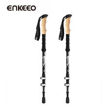Big sale Enkeeo A Pair Ultralight Trekking Poles with Carbon Fiber EVA Sweat Free Grips 3-Section Telescopic for Hiking Walking