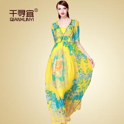 2015 Summer wear new style Women's clothing European Bohemian silk Print dress T0727 - The road Online Store 519062 store