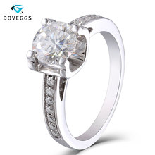 DovEggs 18K 750 White Gold 1ct Diameter 6.5mm F Color Lab Grown Moissanite Diamond Engagement Ring with Moissanite Accents недорого