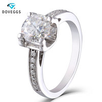 DovEggs 18K 750 White Gold 1ct Diameter 6.5mm F Color Lab Grown Moissanite Diamond Engagement Ring with Moissanite Accents