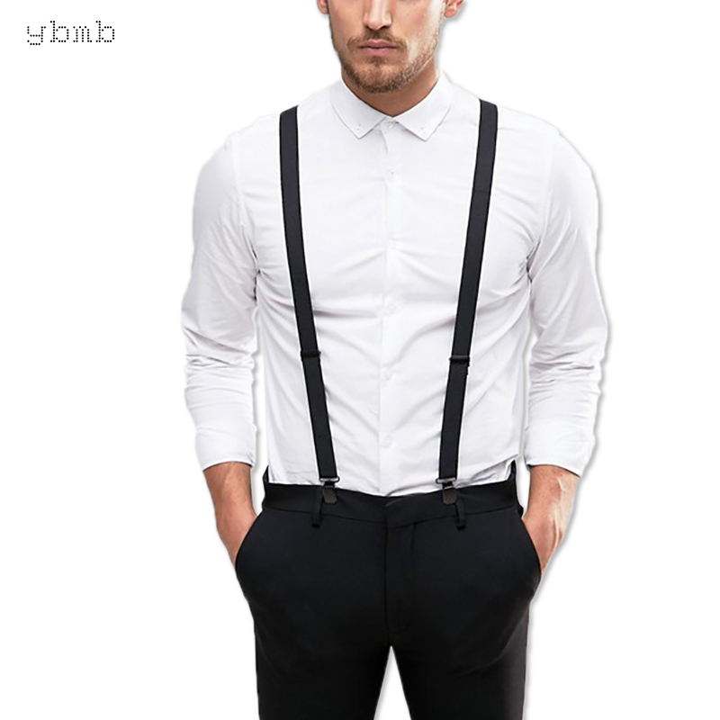 Ybmb Fashion Shirt Suspenders Man 3 Clips Y Shape Black Unisex Braces 25mm Width Fully Adjustable High Quality Fashion Gift
