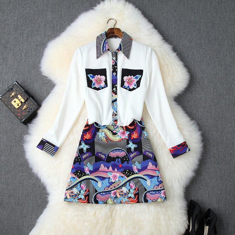 Été piste femmes jupe costume luxe perles chemise Blouse + luxe impression jupe loisirs 2 pièces ensemble femmes