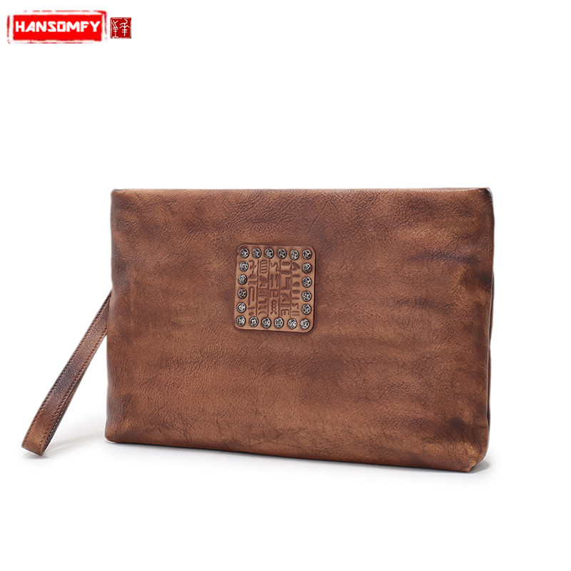 New handmade Genuine leather big clutch bag retro first layer leather hand bag zipper casual envelope bag femaleNew handmade Genuine leather big clutch bag retro first layer leather hand bag zipper casual envelope bag female