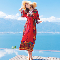 Ethnic Style Beach Red Boho Dress Red Casual Vintage Dress Artistic Print Dress Chiffon Summer Floral Dress