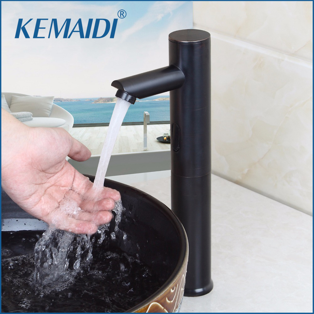 KEMAIDI Luxury Single Handle Hot and Cold Water Sense Faucet Automatic Sensor Tap Infrared Sensor Water Saving Faucets Induct 100% copper cold and hot water mixer sense faucet automatic sensor faucets basin hand washer dc6v ac110 220v dona4215