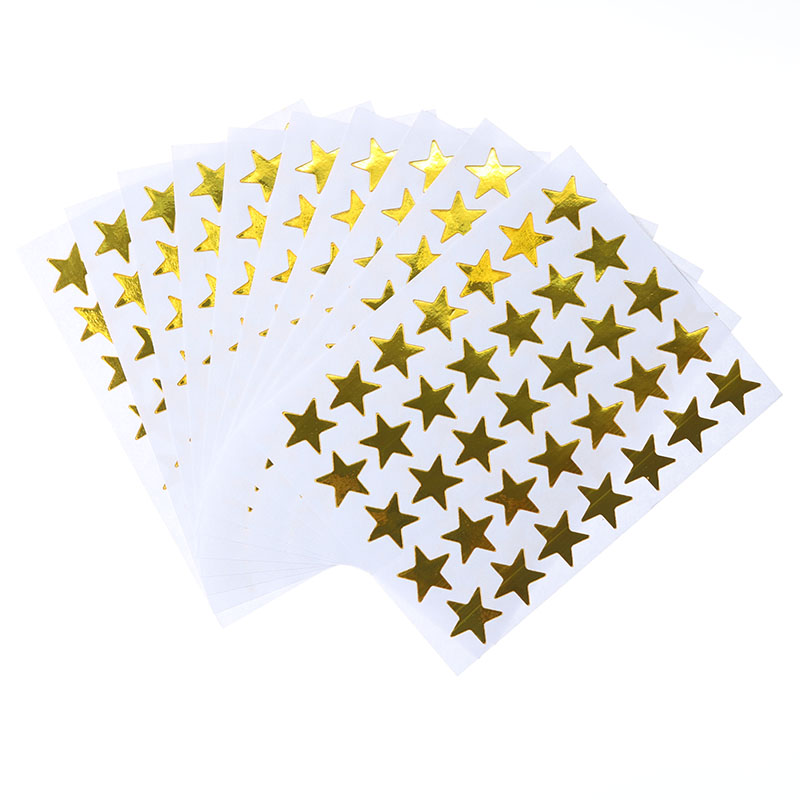 10pc / Bag, Children's Gold Mini Rewards Flash Sticker Teacher Praise Label Award Five-pointed Star Smiley Golden Cartoon Casual