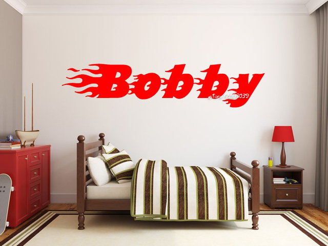 Flaming Name Vinyl Wall Stickers Removable Wall Decal Monogram Decoration Boys Girls Nursery Room Wall Decals & Flaming Name Vinyl Wall Stickers Removable Wall Decal Monogram ...