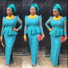 Light Blue Mermaid Evening dress 2019 Nigerian Lace Prom Dresses Half Sleeve Appliques Side Sexy Formal robe de soiree