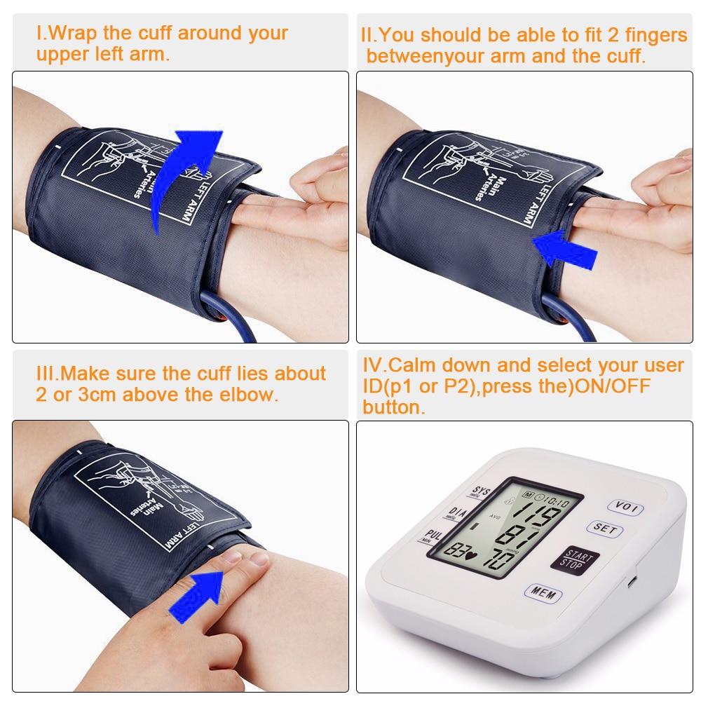Tonometer Automatic Digital Arm Blood Pressure Monitor Sphygmomanometer Heart Beat Rate Pulse Pressure Gauge Cuff pulsometer in Blood Pressure from Beauty Health
