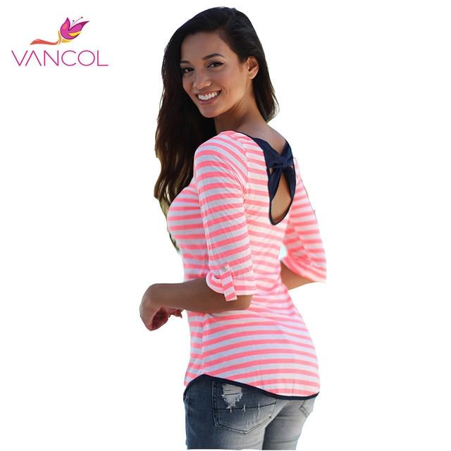 Vancol 2016 Primavera Ladies Open Voltar Bowknot Tamanho Puls 2XL moda Meia Manga Mulheres Tees Tops S-XL Mulheres T-shirt Vermelho listras