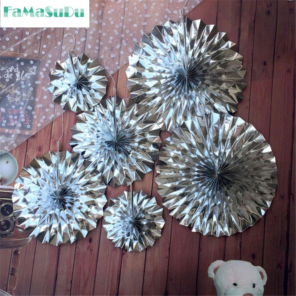 6 teile/satz Gold/silber papier fan faltfächer papier blume für hochzeitsdekoration/party supplies/festival decorat