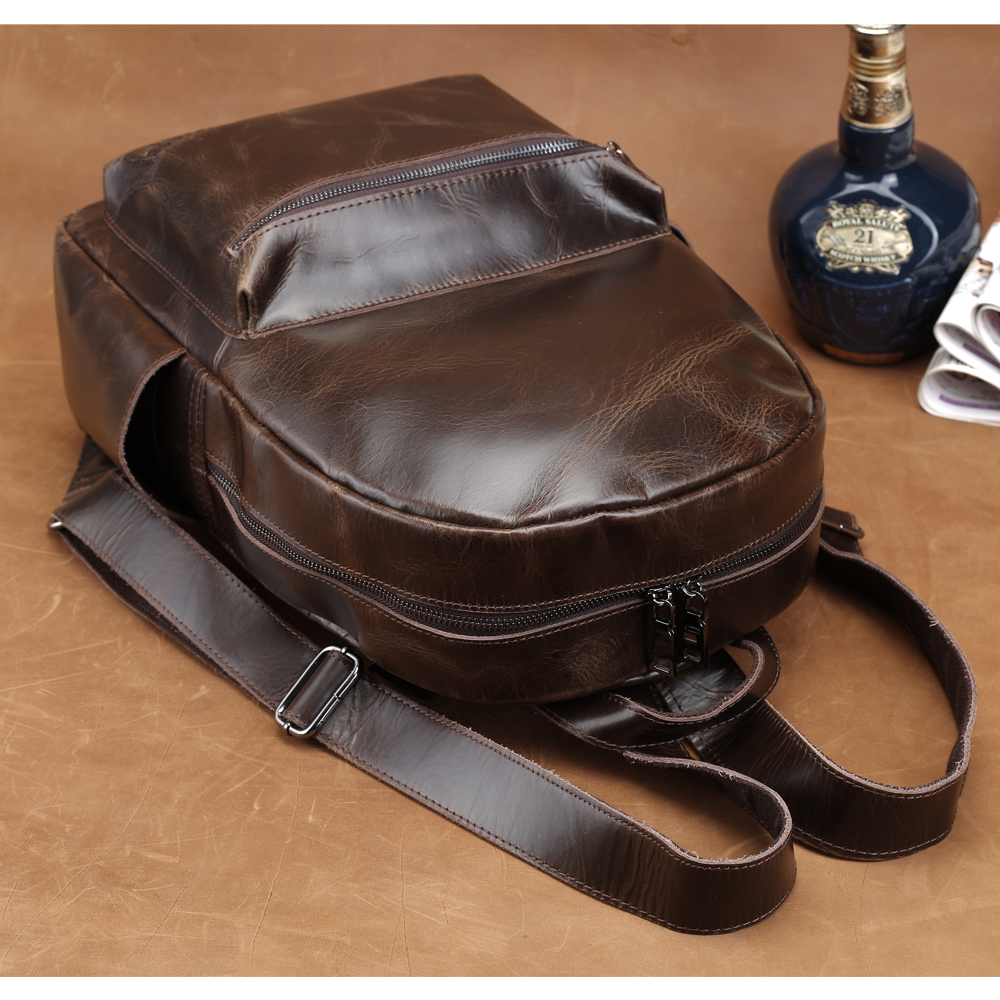 Tiding Men Leather Computer Laptop Backpack Large Fashion School Backpack For Boys Top Teen Book Bags Cool Simple Style 3158