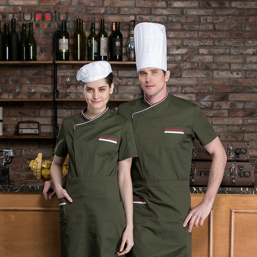 Unisex Top Restaurant Chef Jackets4 Color Short Sleeve French Cook Clothing Kitchen Service Hotel Barber Shop Workwear Uniforms