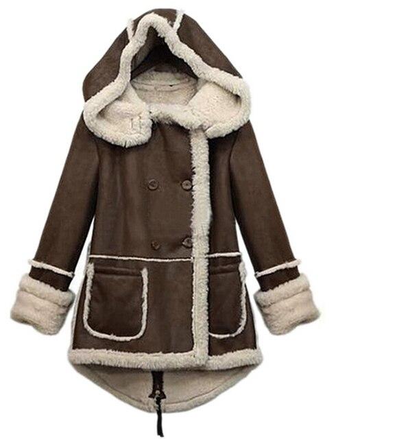 FGGS Women Winter Warm Thicken Fleece Lapel Parka Wool Coat Hooded Outwear Jacket