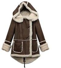 MYPF Женщины Зима Теплая Сгущает Руно Нагрудные Куртка Шерстяное Пальто С Капюшоном Куртки И Пиджаки