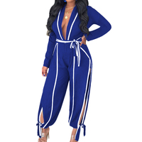 Deep V Side Striped Open Slit Sexy Bandage Jumpsuits Women Full Sleeve Holiday Casual Romper Streetwear Overalls Club Party 2019