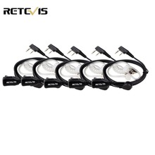 5pcs Retevis PTT Mic Air Acoustic Tube Earpiece Walkie Talkie Headset For Kenwood Baofeng UV 5R