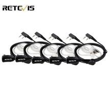 5pcs Retevis PTT Mic Air Acoustic Tube Earpiece Walkie Talkie Headset For Kenwood Baofeng UV-5R Retevis H777 RT22 RT80 C9003