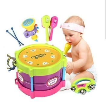 5PCS Fashion Kids Toy New Roll Drum Musical Instruments Band Kit  Children Gift Set.