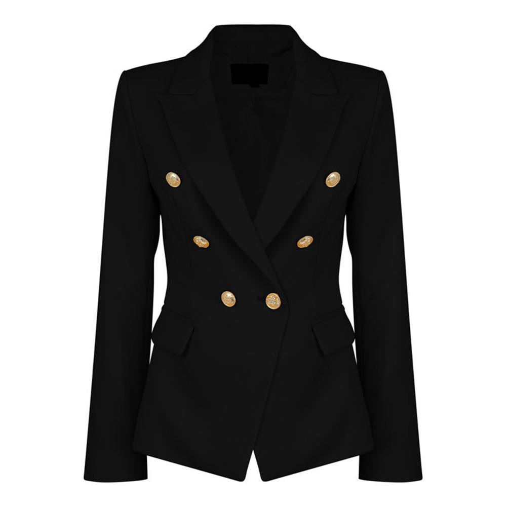 SANWOOD Work Office Lady Solid Color Lapel Long Sleeve Double Breasted Pocket  Women's Spring Autumn Slim Fit Suit Blazers