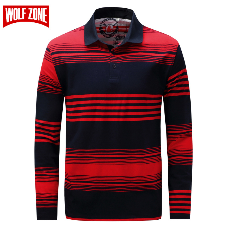 WOLF ZONE Brand Fashion Casual Polo Shirt Men Long Sleeve Spring and Autumn Cotton Full Sleeve Warm Shirt Tops Europe/US Size