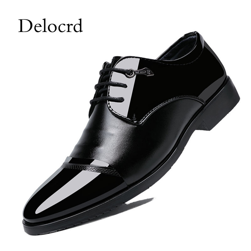 Factory Direct Sale Men Dress Shoes Pointed Toe Patent Leather Business Formal Shoes Lace Up Office Male Footwear