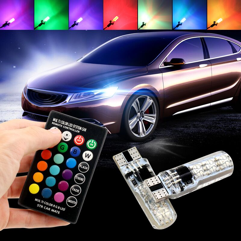 Car-styling 2PCS 5050 SMD RGB T10 194 168 W5W Car Reading Wedge Light Lamp Multi Color RGB LED Bulb With Remote Controller Flash 2x t10 w5w 168 194 smd 6 led 5050 remote control rgb car reading wedge lights for car tail light side parking door lighting