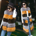 Woman's Fur Coat Winter 2016 Fox Fur Coat Long Section Thick Warm Fur Sleeveless Vest O-Neck Patchwork GSJ149