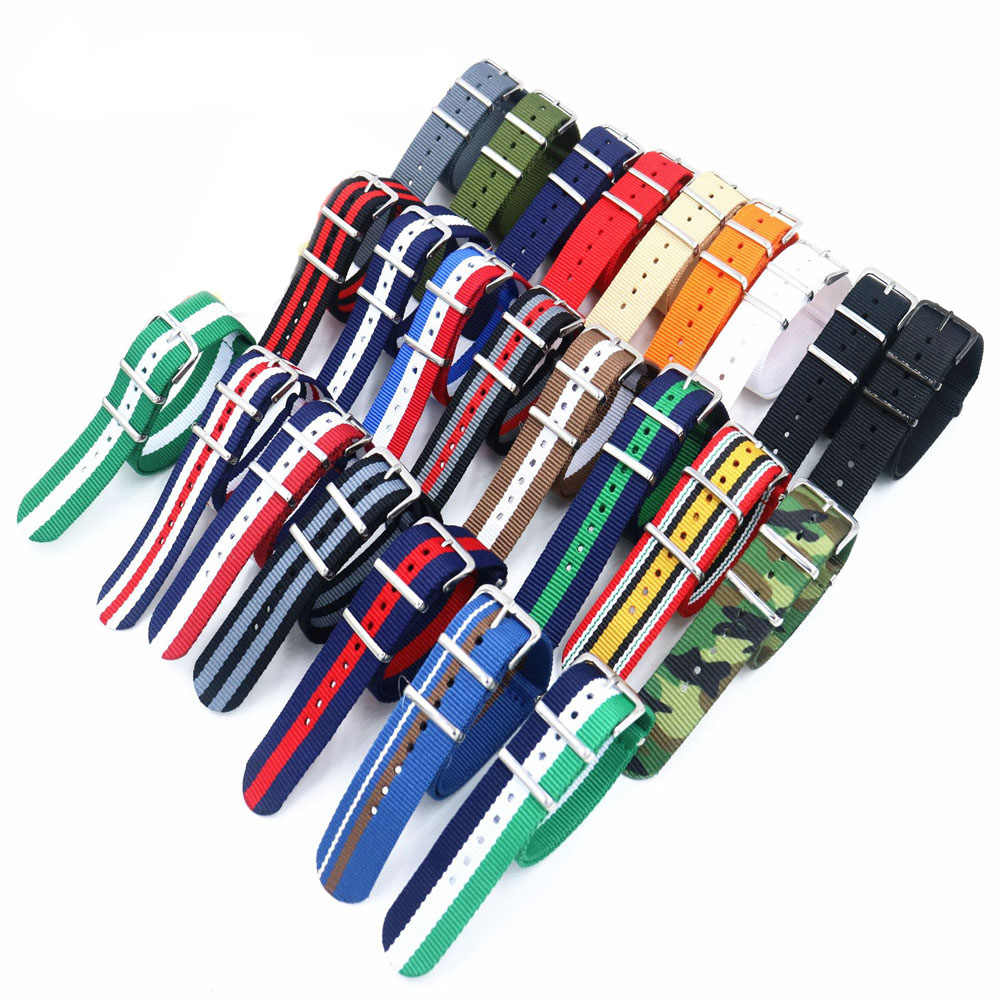 18mm 20mm 22mm NATO Military Sports Brand Nylon Fabric Belt Accessories Belt Buckle Bands for 007 James Bond Black Watch Strap