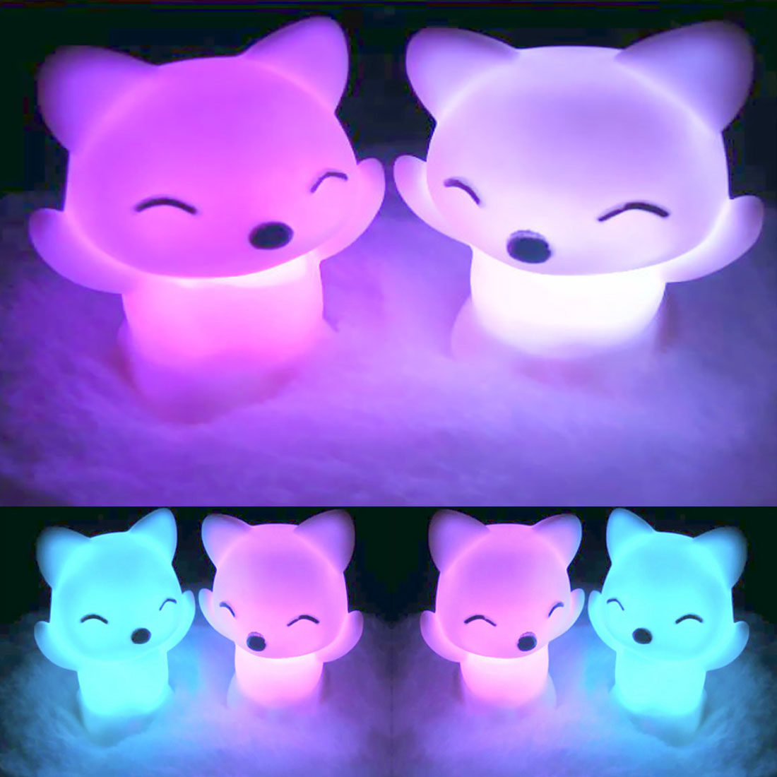 Lovely Fox Shape 7 Changing Colors LED Night Light LED Light Button Battery Home Decoration