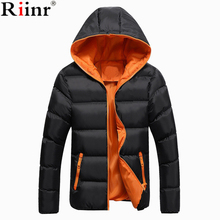 Riinr New Fashion Winter Jacket Men's Warm Coat Jacket Mens Parkas Jackets Men's Coat Zipper Hooded Collar Jacket Men Size S-5XL