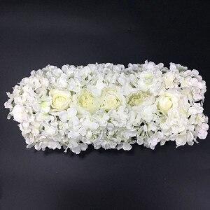 Image 4 - 人工シルクフラワー 2 個 50 センチメートル結婚式の道路のリードアジサイ牡丹ローズフラワー結婚式のアーチ正方形のパビリオンコーナー装飾フローレス