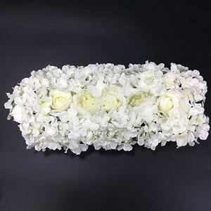 Image 4 - Flor de seda artificial 2 pces 50cm estrada do casamento chumbo hortênsia peônia rosa flor casamento arco quadrado pavilion cantos decoração flores
