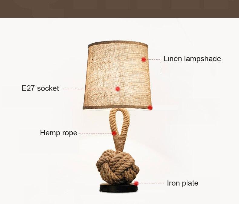 luz corda cânhamo decorativo lâmpada mesa