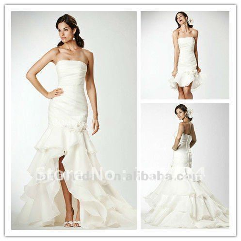 Pearl White Mermaid Wedding Dresses Removable Skirt