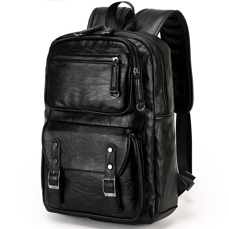 New Men's PU Leather Solid Business Backpack Fashion Casual Travel High-capacity Backpack new men s pu leather solid business backpack fashion casual travel high capacity