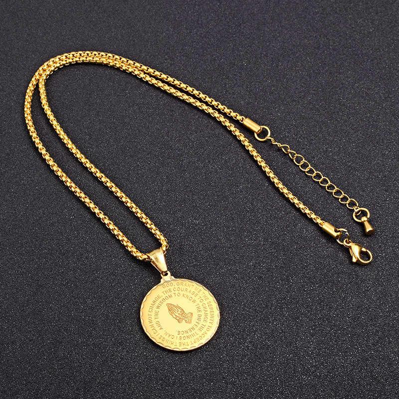 Hip hop ouro cruz bíblia pingente colar para homem cor do ouro aço inoxidável corrente oração colares bling jóias
