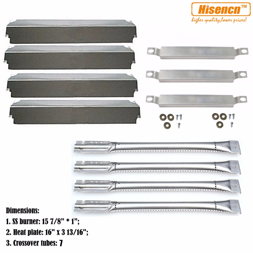 Hisencn Charbroil 463248208 463268107 466248208 Grill Repair Kit Replacement Crossover Tubes Burners Porcelain Heat Plates